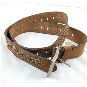 AEO Studded Boho Leather Belt Cut Outs Size S